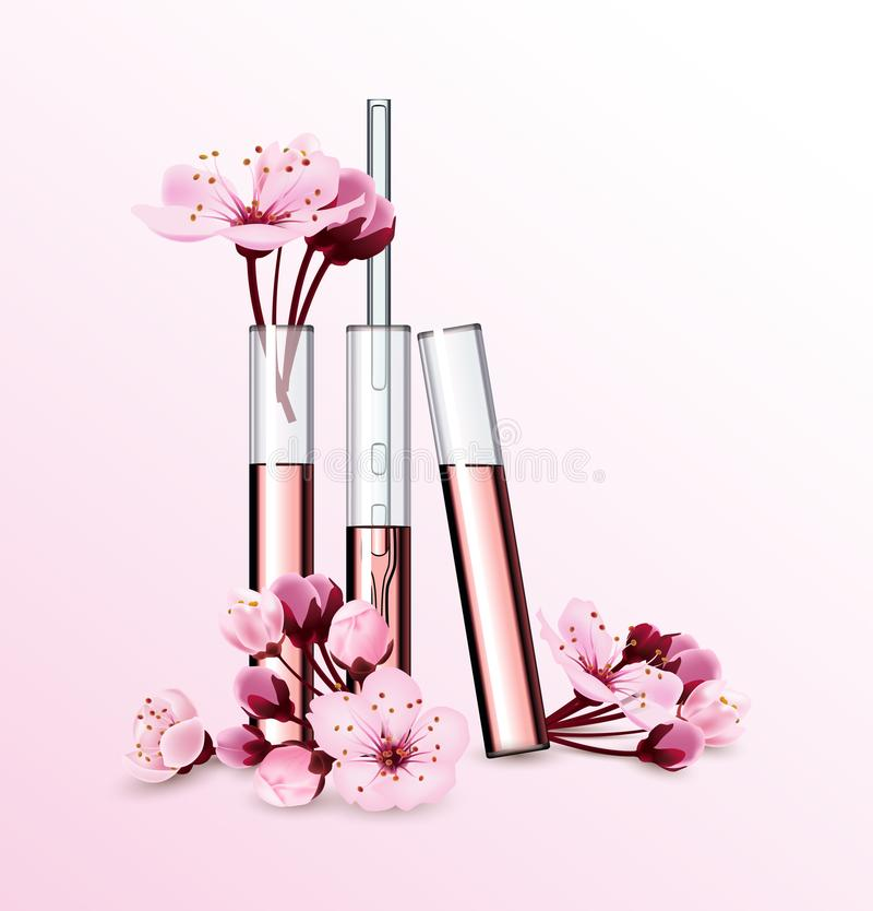 Natural cosmetics. Perfume. Flower extract in vitro.Cosmetic ads template with cherry blossom glass droplet bottle with. Natural cosmetics. Perfume. Flower vector illustration