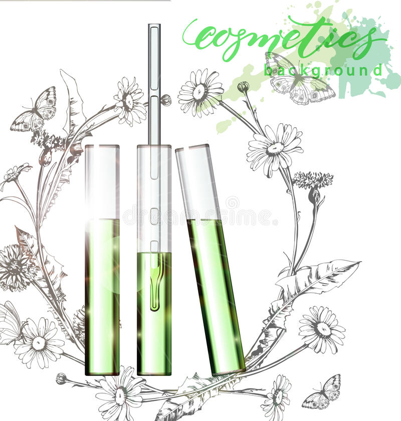 Natural cosmetics. Perfume. Flower extract in vitro.Cosmetic ads template, glass droplet bottle with essence oil . 3D illustration. Q10 and other ingredients on vector illustration