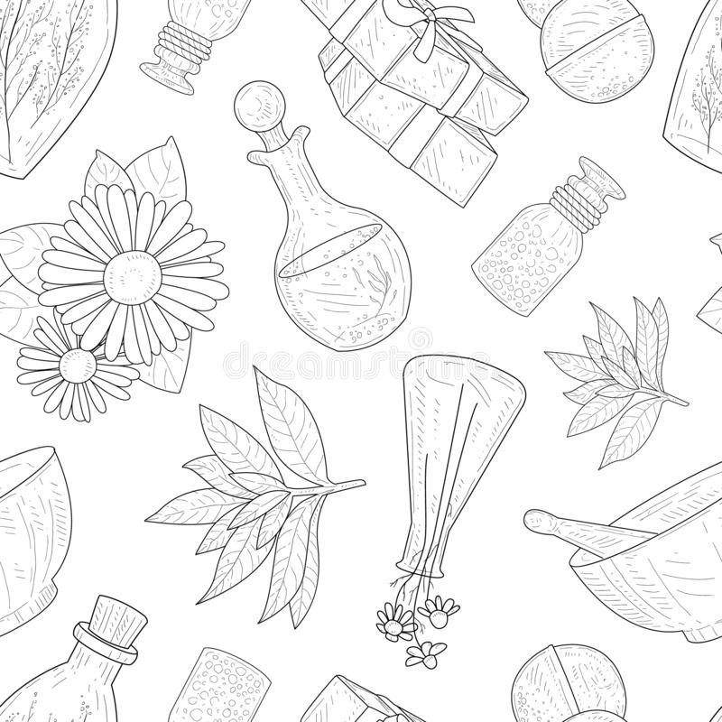 Natural Cosmetics Seamless Pattern, Eco Organic Cosmetic Elements Hand Drawn Vector Illustration. On White Background vector illustration