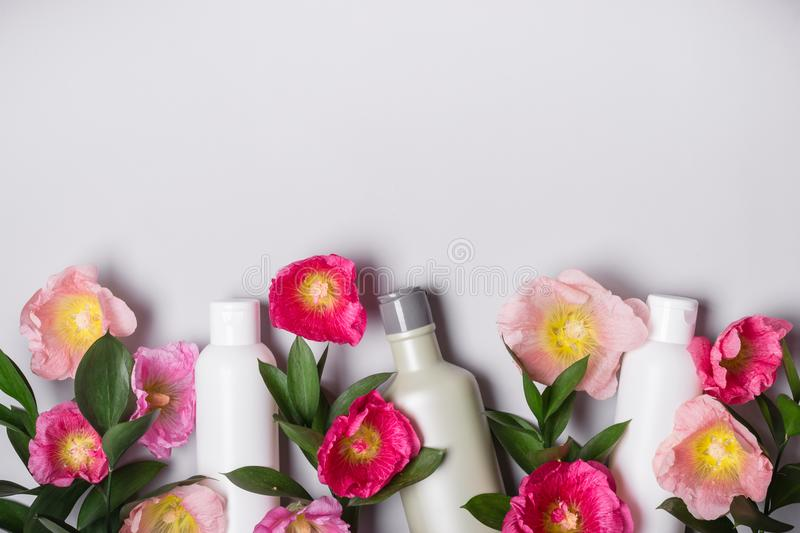Natural Cosmetics set. Organic products and wild herbs and flowers mallow.  stock image