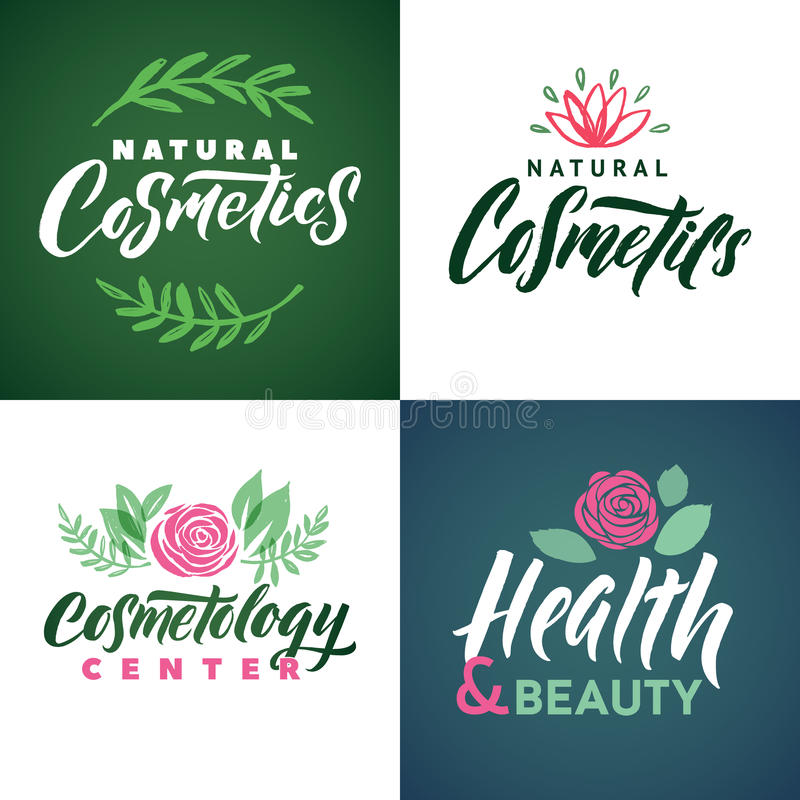 Natural Cosmetics Vector Logo. Health, Beauty and Cosmetogy Center. Leaves Illustration. Brand Lettering. Natural Cosmetics Vector Logo. Health, Beauty and stock illustration
