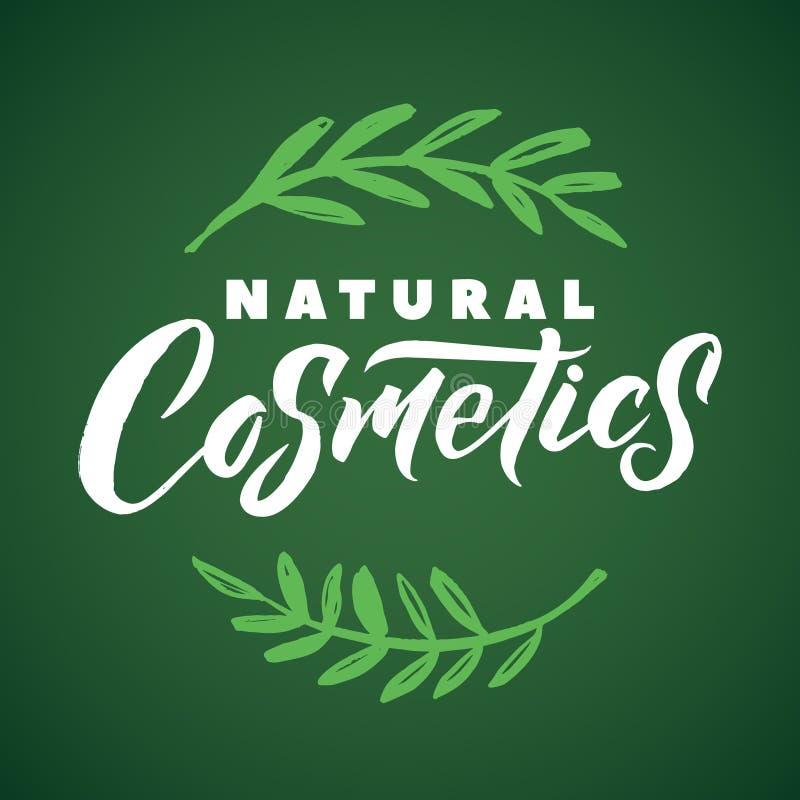 Natural Cosmetics Vector Logo. Stroke Green Leaves Illustration. Brand Lettering.  stock illustration