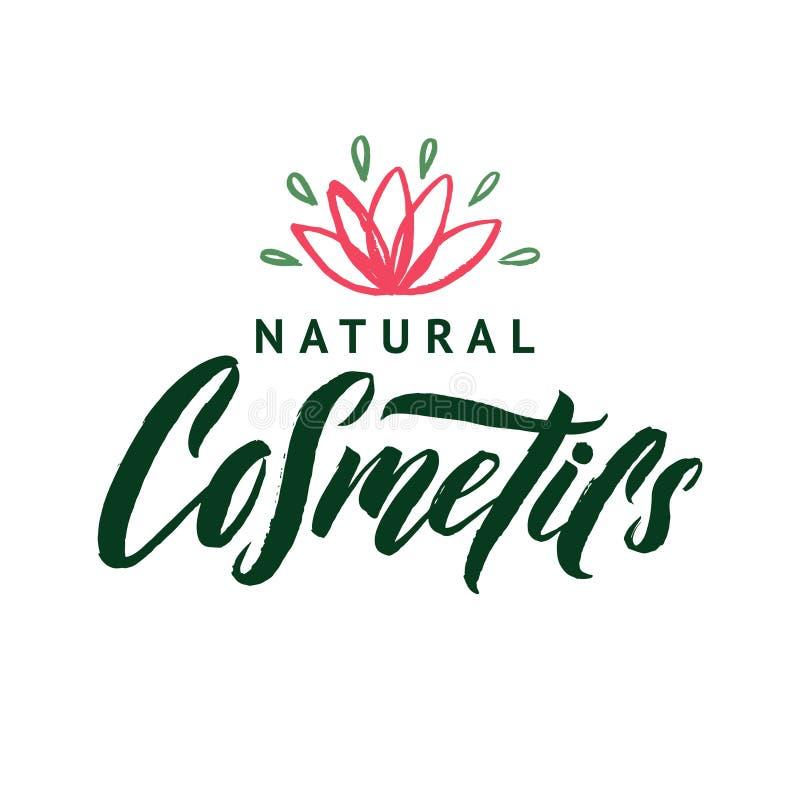 Natural Cosmetics. Vector Logo. Stroke Pink Water Lilly Flower Illustration. Brand Lettering vector illustration