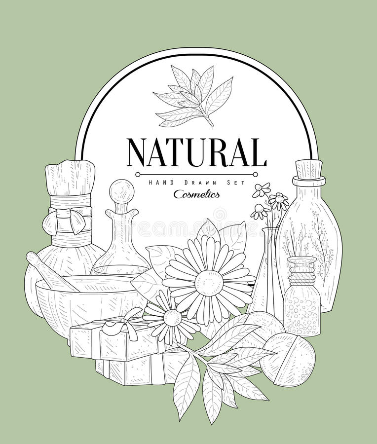 NAtural Cosmetics Vintage Sketch. NAtural Cosmetics Vintage Vector Hand Drawn Design Card stock illustration