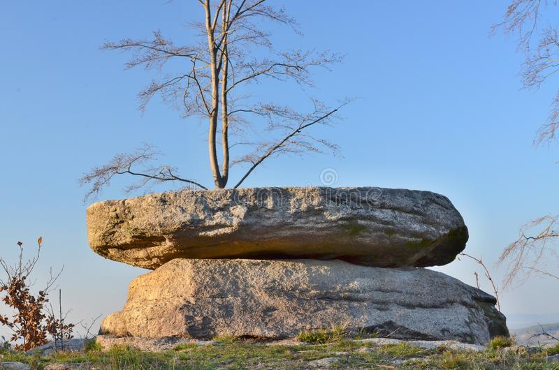 Natural curiosity, a stone table, South Bohemia. Czech Republic royalty free stock photo