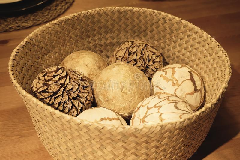 Natural Decorative Balls Stunning Natural Decorative Balls In A Wooden Basket Stock Photo  Image Decorating Inspiration