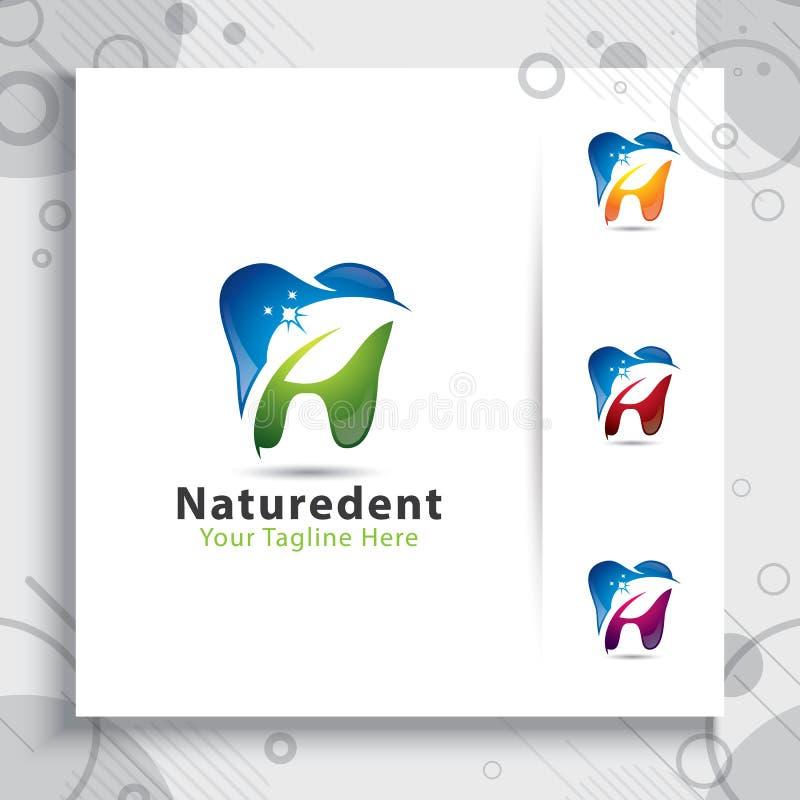 natural dental care clinic vector design logo template , illustration digital creative of dental symbol with leaf concept stock illustration