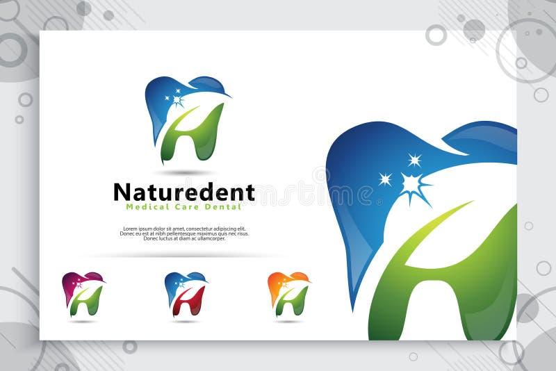 Natural dental care clinic vector design logo template , illustration digital creative of dental symbol with leaf concept. Natural dental care clinic vector vector illustration