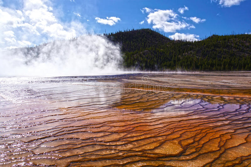 Yellowstone National Park, Wyoming, United States. Natural design in the ground created by minerals & algae in Yellowstone National Park, United States stock images