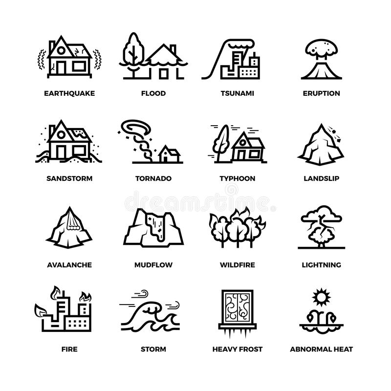 Natural disaster accidents line vector icons and damage symbols stock illustration
