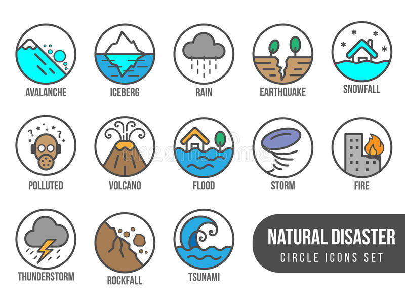 Natural disaster basic circle icon set with tide volcano erupting earthquake flood isolated vector design royalty free illustration