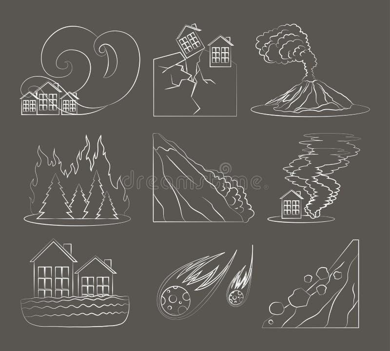 Natural disaster icon set royalty free illustration