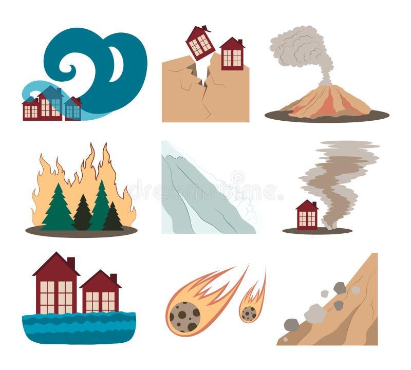 Natural disaster icon set stock illustration