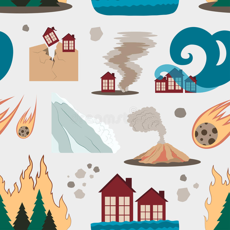 Natural disaster icon set pattern royalty free illustration