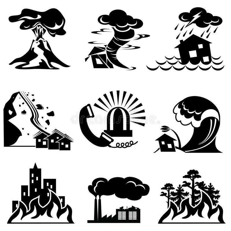 Natural disaster icons royalty free illustration