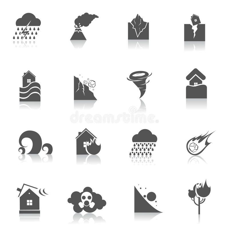 Natural disaster icons black. Natural disaster environmental catastrophe icons black set isolated vector illustration vector illustration