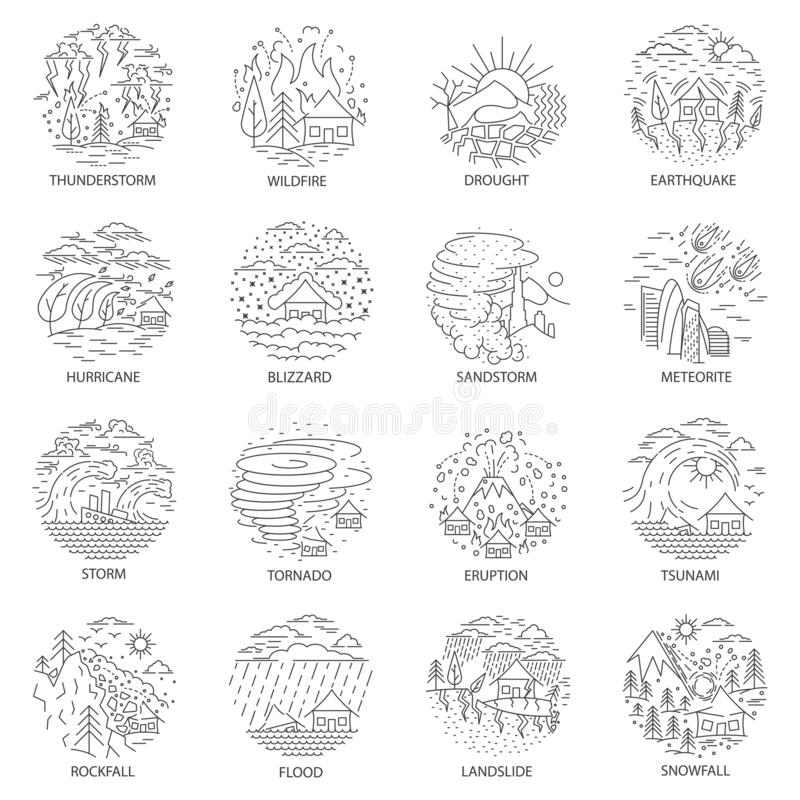 Natural disaster icons collection vector illustration