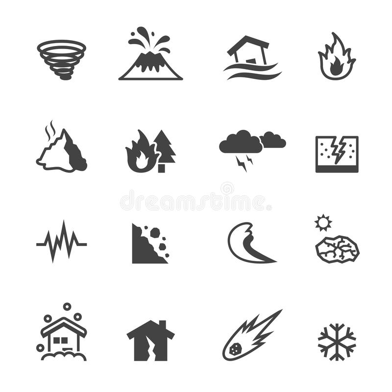 Natural disaster icons royalty free illustration