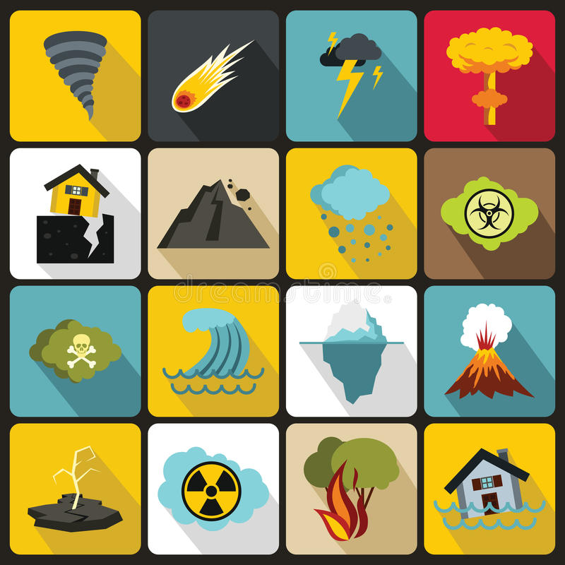 Natural disaster icons set, flat ctyle vector illustration