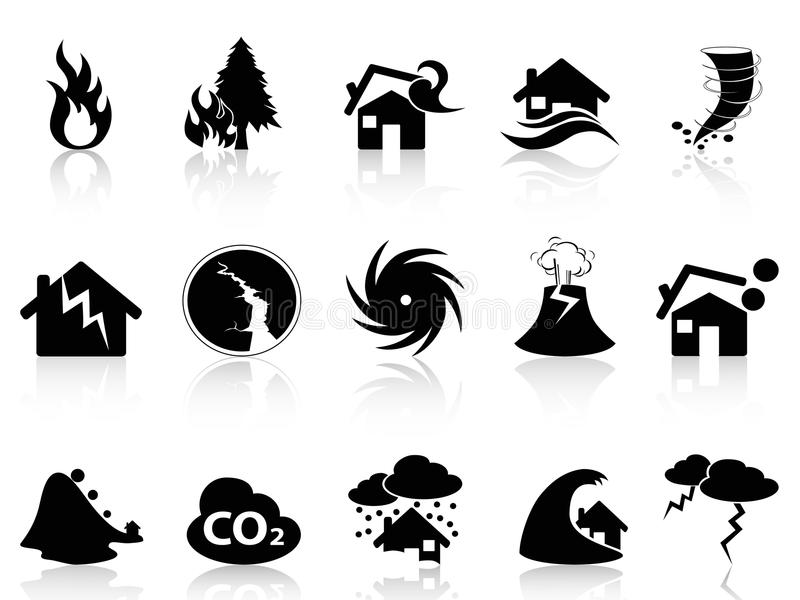 Natural disaster icons set vector illustration