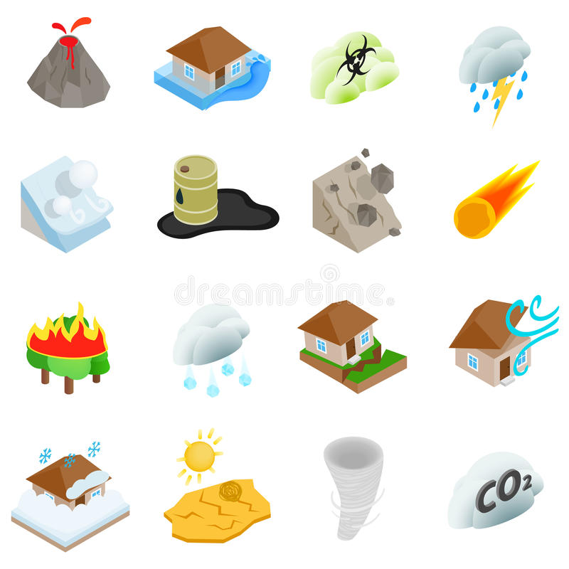 Natural disaster icons set, isometric 3d style vector illustration