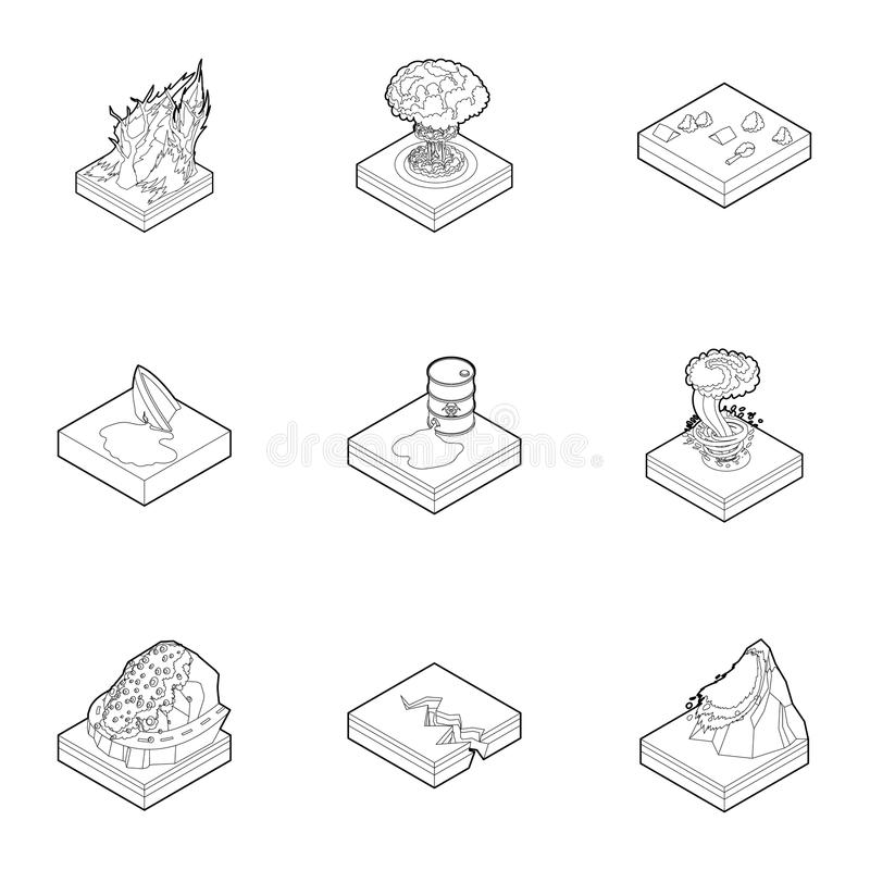 Natural disaster icons set, outline style stock illustration