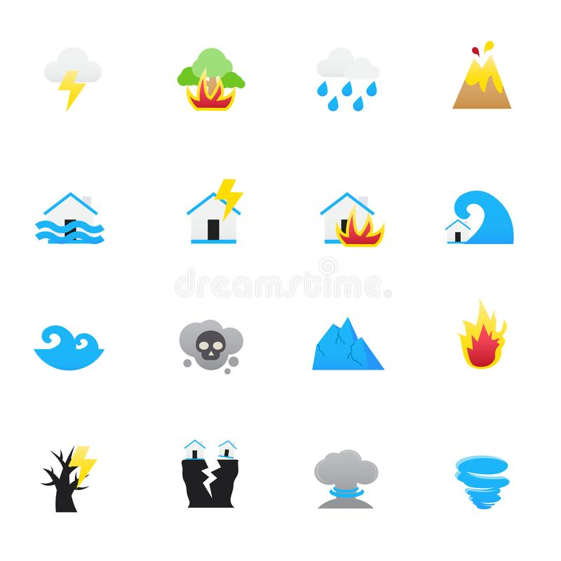 Natural Disaster Icons. Set of Natural Vector Illustration Color Icons Flat Style. stock illustration