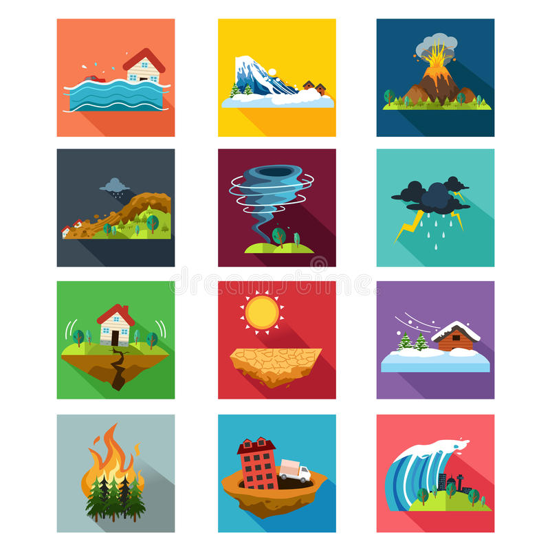 Natural Disaster Icons. A vector illustration of natural disaster icon sets stock illustration