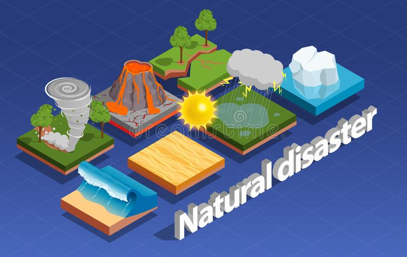 Natural Disaster Isometric Composition royalty free illustration