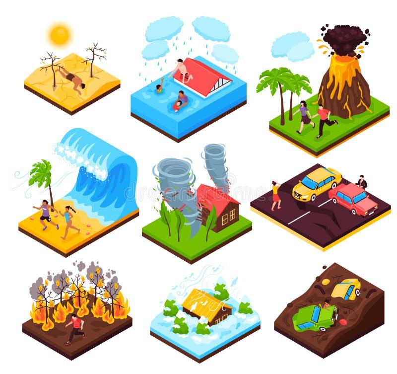 Natural Disaster Isometric Set stock illustration