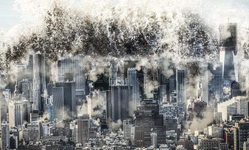Natural disaster wave. Natural disaster, a realistic image of a major city being hit by a huge tsunami wave royalty free stock images