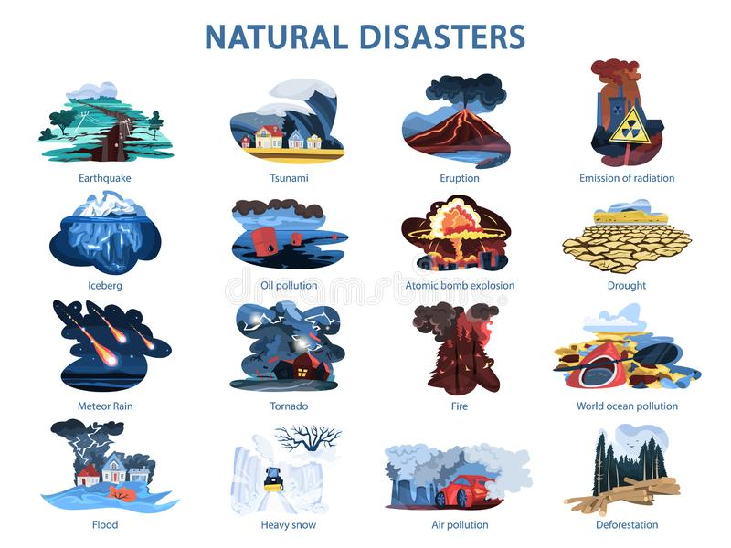 Natural disaster set. Earthquake and flood, forest in fire. And volcano erupting. Cataclysm, environmental damage. Isolated vector illustration in cartoon style royalty free illustration