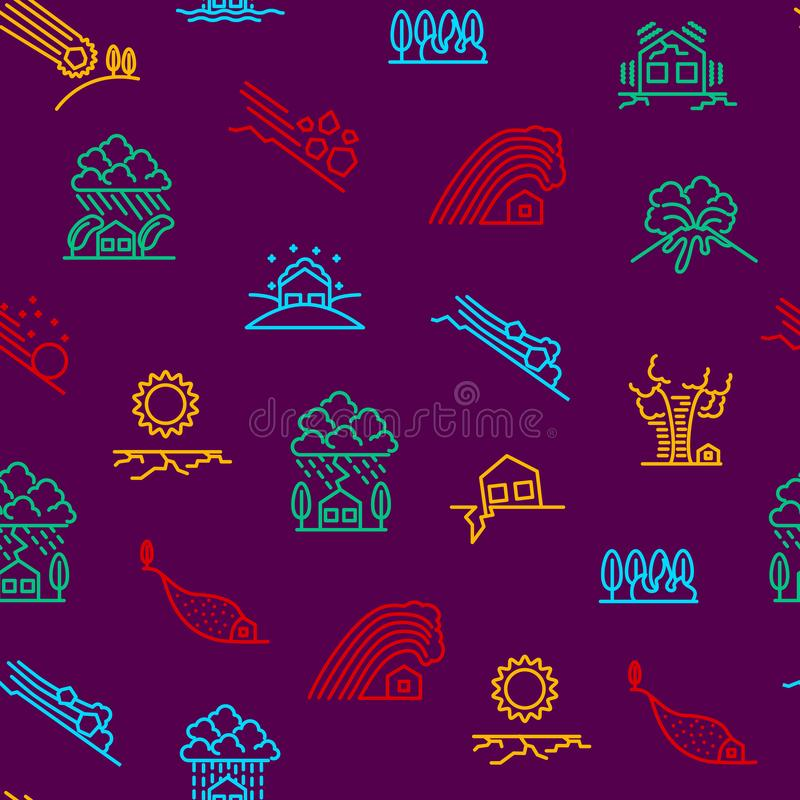 Natural Disaster Signs Thin Line Seamless Pattern Background. Vector stock illustration