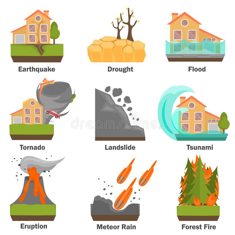 Natural disasters color flat set. Vector illustrations royalty free illustration