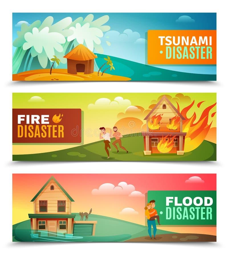 Natural Disasters Horizontal Banners vector illustration