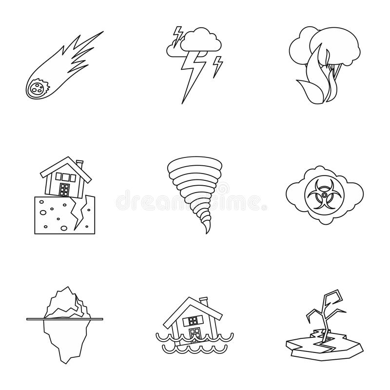Natural disasters icons set, outline style. Natural disasters icons set. Outline illustration of 9 natural disasters icons for web stock illustration