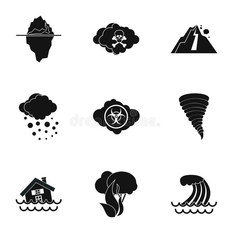 Natural disasters icons set, simple style. Natural disasters icons set. Simple illustration of 9 natural disasters icons for web stock illustration