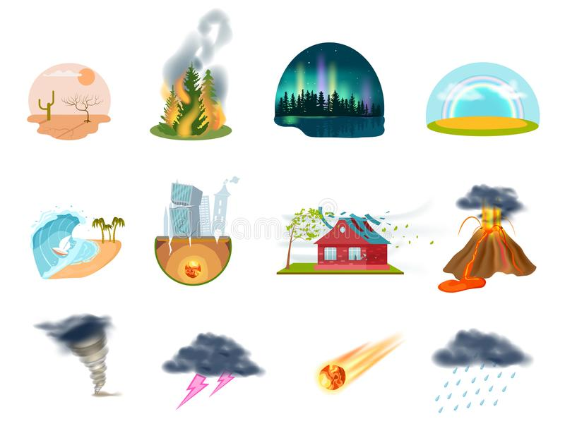 Natural disasters isolated icons set vector illustration