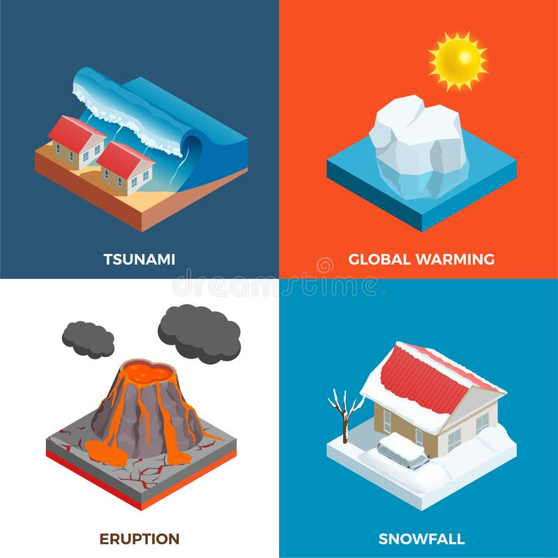 Natural Disasters Isometric Design Concept. With tsunami volcano eruption snow fall and global warming isolated vector illustration vector illustration