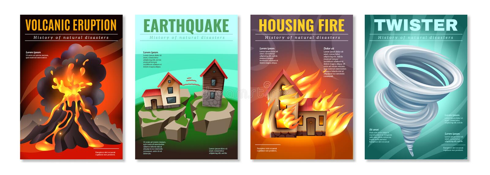 Natural Disasters Posters Set stock illustration