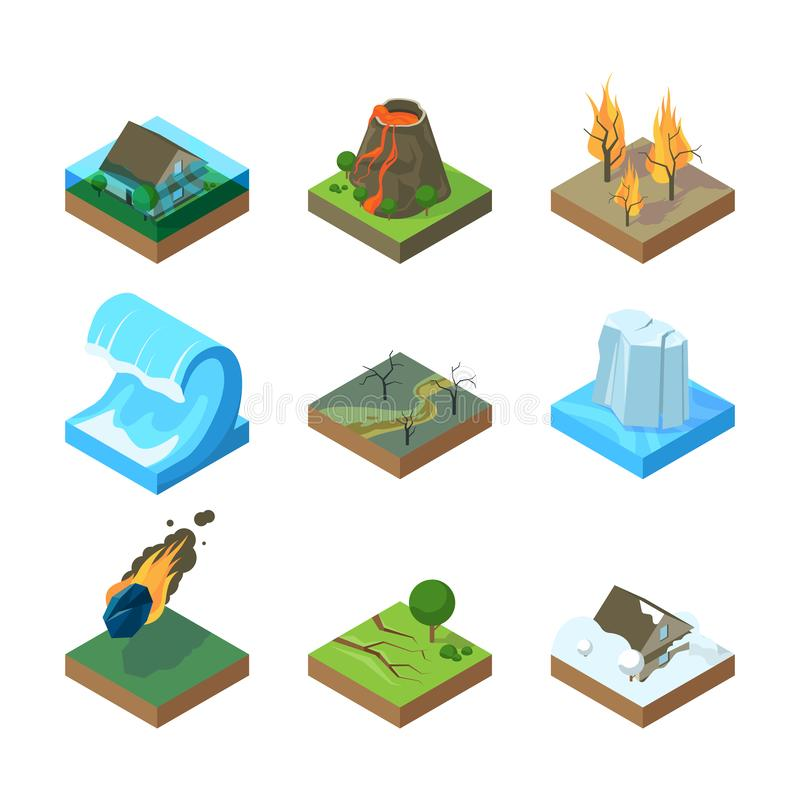 Natural disasters. Vulcano tornado thunderstorm fire in forest water flood tsunami vector isometric illustrations. Tsunami and earthquake, wave and volcano vector illustration