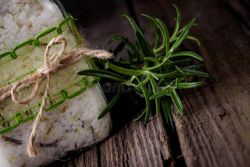 Natural diy crystal bath salt royalty free stock photo