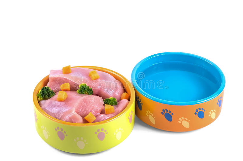 Natural dog food and water in ceramic bowls isolated on white royalty free stock images