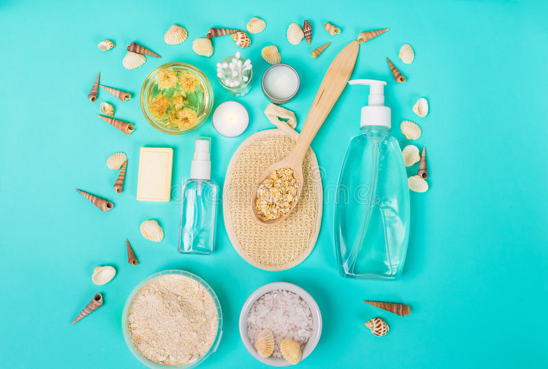 Natural domestic products for skincare. Oat, oil, soap, facial cleanser. Natural domestic products for skincare on a blue background. Oat, oil, soap, facial royalty free stock image