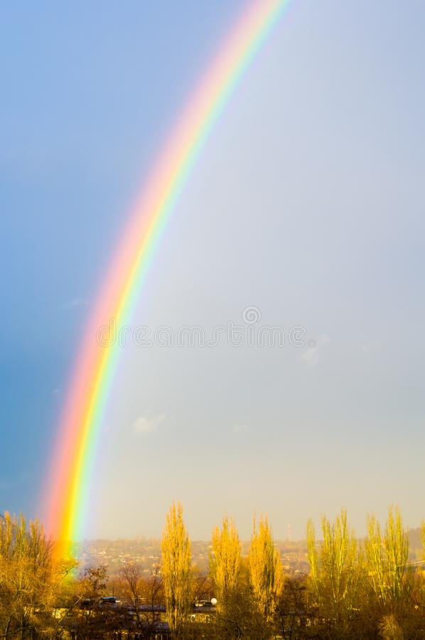 Natural Double Rainbow Over Green Trees Summer City Landscape Stock Photo Image Of Landscape Storm 146242220