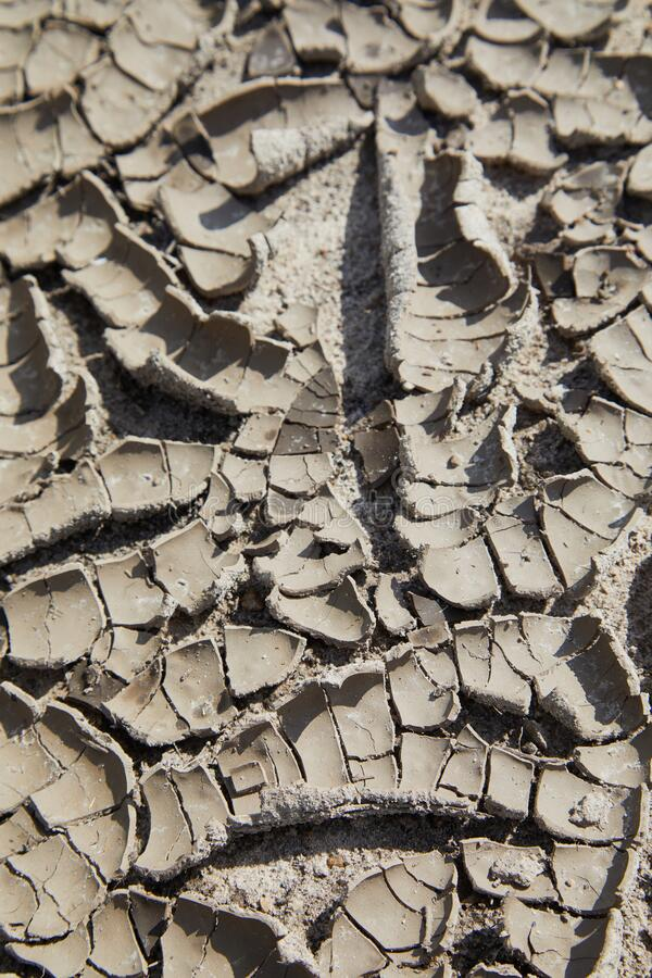 Natural drought concept: dry cracks of clay soil that is caused by the erosion. Dry  cracked ground texture stock image