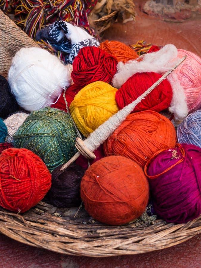 Natural Dye alpaca wool in Chinchero near Cuzco in Peru royalty free stock photo