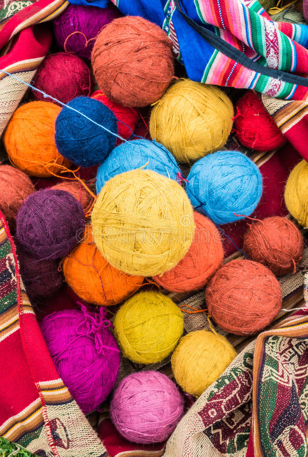 Natural dyed wool yarn peruvian Andes Cuzco Peru stock images