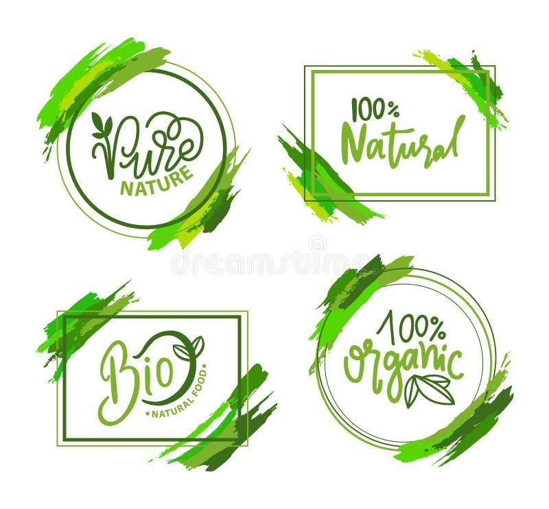 Natural e alimento biológico, etiqueta de Eco, vetor verde ilustração stock