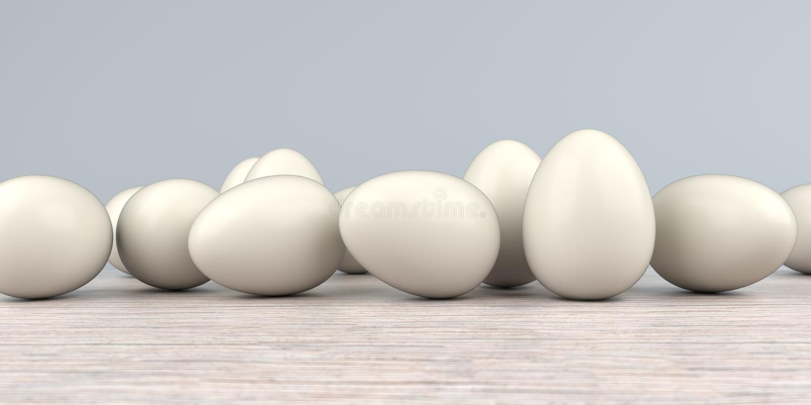 Natural Easter Eggs Wooden Table. Natural easter eggs on the wooden table vector illustration